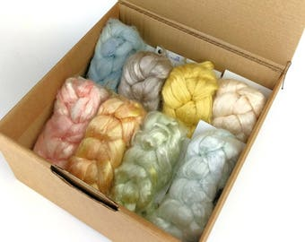 Deluxe spinning fibre, botanically dyed, suitable for vegans, medium 200g box of 8 different plant fibres, multi-fibre box, UK