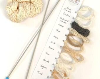Hand spun plant fibre yarn sample card, 12 fibre sampler, vegan yarn, for knitting, crochet, weaving UK