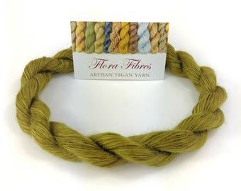 "Hand spun naturally dyed vegan abaca (banana) lace weight yarn ""Enchanted Forest"" for knitting crochet weaving UK"