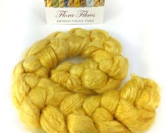 Botanically dyed mint spinning fibre, excellent silk alternative, vegan, 50g, for spinning or needle felting, UK