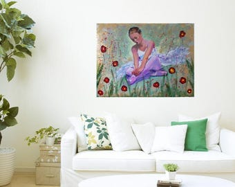 Original ballerina painting,figurative painting,acrylic painting,ballet art,dance art,ballerina art,sitting ballerina,dance art