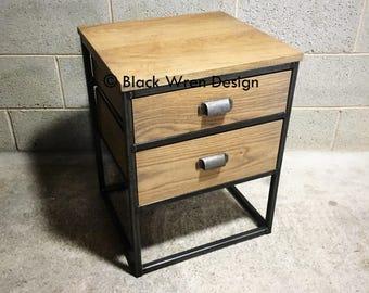 Dusk Bedside Table - Retro Industrial Style