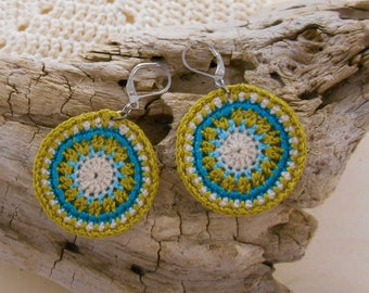 Earrings light green, blue and beige cotton model hypnosis