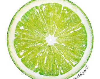 Kitchen wall art, kitchen wall decor, vinyl record art, kitchen gift, lime green art, lime green decor, fruit painting, fruit art