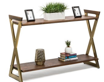 Hall Console Table Hallway Iron Side Entry Timber Wooden 2 Tier