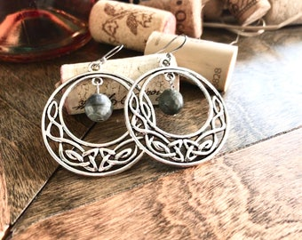 Antique silver circle pendant earrings