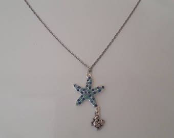 silver fish necklace sea star rhinestone and Silver Blue