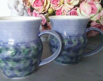Ben Thomas Porcelain pottery -  English Handmade Cups Purple/Green/Lilac