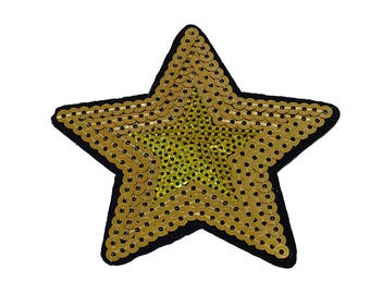 Patch/bow-Star with sequins-gold/Black-8.5 x 9.2 cm-by catch-the-Patch ® patch appliqué applications for ironing application patches patch
