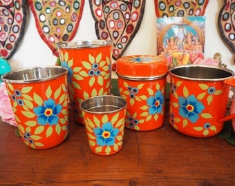 Hand Painted Kashmir Floral Gypsy Enamelware Hippie Shabby Chic Glamping Picnic Tin Tumbler Set
