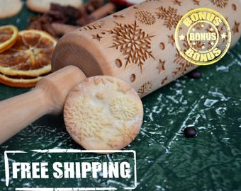 Wooden Rolling Pin Engraved Roller Christmas Snowflakes 4 Size Winter Pattern Happy New Year Embossed rolling pin for dough baking tools