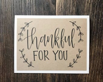 Set of 5 Thankful for You Greeting Cards with Kraft Paper Overlay - Rustic Hand Lettered Calligraphy