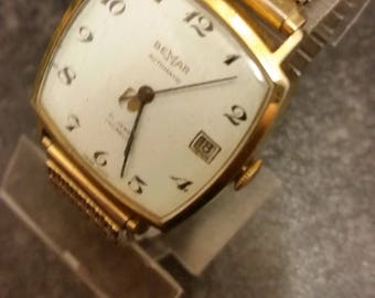 Gents Vintage Bemar automatic gold watch 1076 vintage with expandable wrist strap