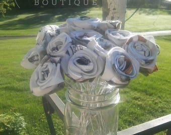 Camo Fabric Rose, White Satin Camo Rosebuds, Fall Wedding Flowers, Rustic Wedding, Fall Bride Bouquet, Camo Rose, Camo Wedding Decor