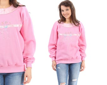 Pink Sweatshirt 80s Artistic Gymnasts Print Pink Shirt 80s Top Vintage Long Sleeve Sweater Graphic 1980s Slouchy Pullover Crewneck Large
