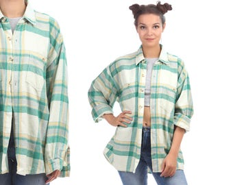 Oversized Plaid Shirt 70s White GREEN Flannel Button Up Men Women Unisex GRUNGE Shirt 80s Long Sleeve Lumberjack Checkered 1970s XL