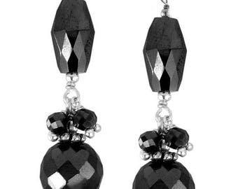 50% Sale Drum Shape Black Diamond Dangler Earrings In Sterling Silver