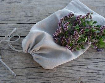 Linen bread bag, linen bread bag with lace, bread bags, reusable keeper, natural linen, linen bags