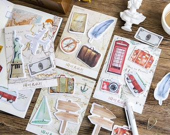 Go Travel Small Sticky Notes Set - Planner, Journal, Craft, Scrapbooking,Decoration
