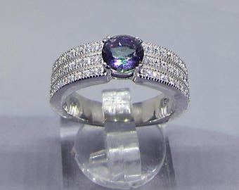 Silver ring decorated with a Topaz mystique and sparkling pave set ring/zirconia ring Large/ring round/ring / ring violet