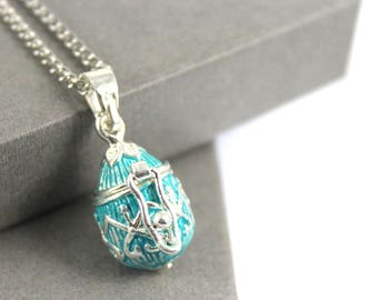 Vintage Turquoise Color Egg shape Locket with Fillable Glass Tube, Ashes Holder, Urn Locket, Fillable Jewelry, Cremation Necklace