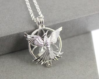 Sterling Silver Phoenix Locket with Fillable Glass Orb, Memorial Jewellery, Urn Locket, Fillable Jewelry, Cremation necklace