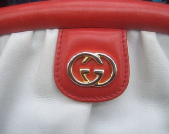 GUCCI Italy Crisp White Leather Handbag c 1980s