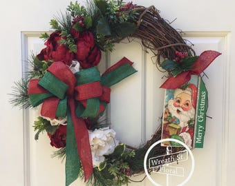 Christmas Wreath, Holiday Wreath, Front Door Wreath, Grapevine Wreath, Wreath Street Floral, Peony Wreath, Red Green Wreath, Santa Wreath