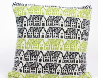 Cashmere knit cushion - wool pillow - Scandi style house pattern cushion - Ivory charcoal lime cushion - Luxury duck pad -fairisle pattern