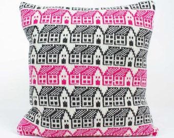 Knitted cushion - cashmere pillow - Scandi style house pattern cushion - Knit cushion - Luxury duck pad - fairisle pattern pillow