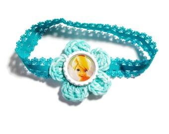 Headband/Girls Headband/Tinkerbell/Teal/Bottle Cap/Hand Crocheted Flower