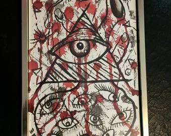 Illuminati abstract   watercolor art painting framed