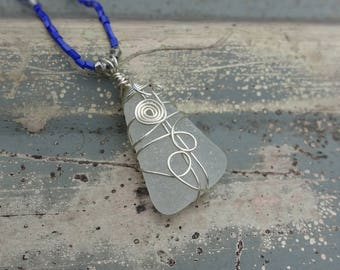 Genuine Sea Glass Wire Wrapped Pendant Necklace, Barcelona Spain, Unique One of a Kind Gift for Her, Woman's Gift, Christmas Gift