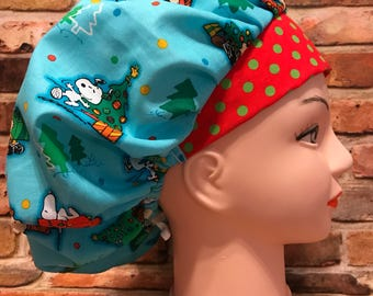 SNOOPY PEANUTS CHRISTMAS Holiday Surgical Womens Scrub Hat Bouffant fits ponytail, Chemo Cap, Surgical Hat, Nurse Cap