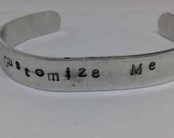 Personalized Standard Cuff/cuff bracelet/aluminum cuff/hand stamped/metal bracelet