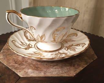 Aynsley Teacup saucer, Vintage teacup, Aynsley China, Aqua Gold teacup, English teacup, English Bone China, Gift for her, time for tea