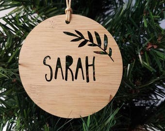 Personalised Wood Christmas Decoration-Fern-Ornament-christmas tree-gift-christmas gift-wooden-teachers gift