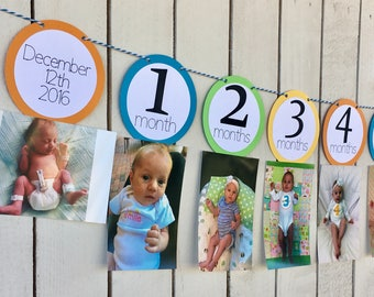 First Year Monthly Photo Banner for First Birthday | Personalized Photo Banner | Boy or Girl Birthday Decorations