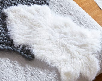 Mongolian Sheepskin Rug - WHITE