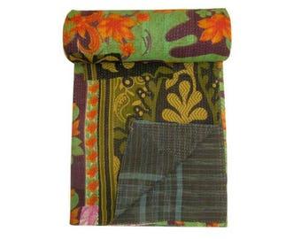 Vintage Cotton Kantha Quilt Twin Size Hand Stitched Kantha Bedspread