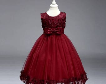 Burgundy flower design dress