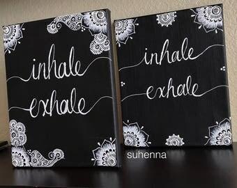 inhale, exhale henna canvas