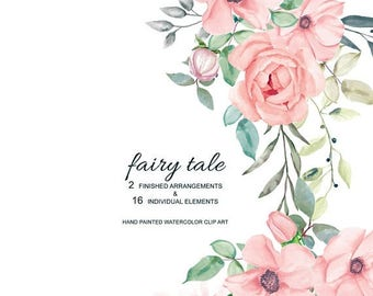 45% off 2 DAYS Blush Watercolor Flowers & Leaves with Different Shades Clipart Separate Elements Hand Painted Commercial Use | S15 Fairy Tal