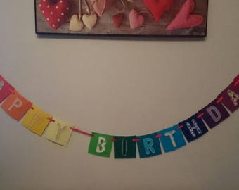 HAPPY BIRTHDAY, bright, fabric rainbow, wall hanging banner bunting, made-to-order with felt squares, cotton on and hand-sewn beaded trims.