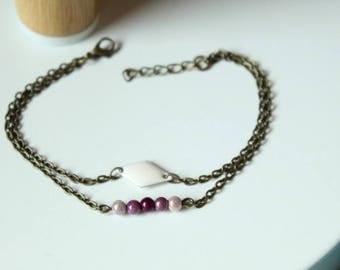 Magical purple rose beads and bronze sequin double bracelet cream