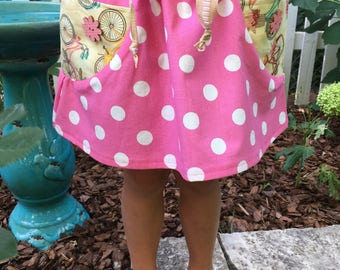 pink polka dot skirt with pockets {size 4/5, emmamadewithlove}