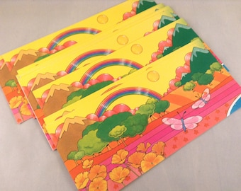 Rainbow 70s Stationery Paper Note Cards