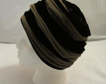 Mid-Summer Sale 20%OFF Black and Taupe Velvet Cloche Hat
