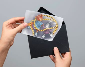 Digital postcard gouache