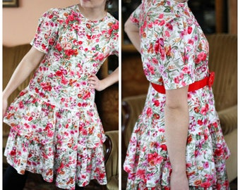 floral flounce dress with roses , frills,  low waist and short sleeves